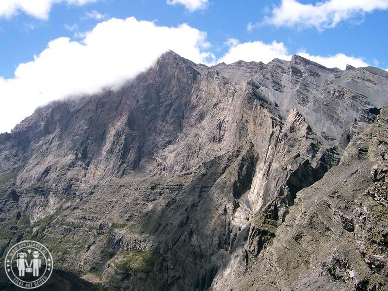 Der Gipfel und Kraterrand des Mount Meru.