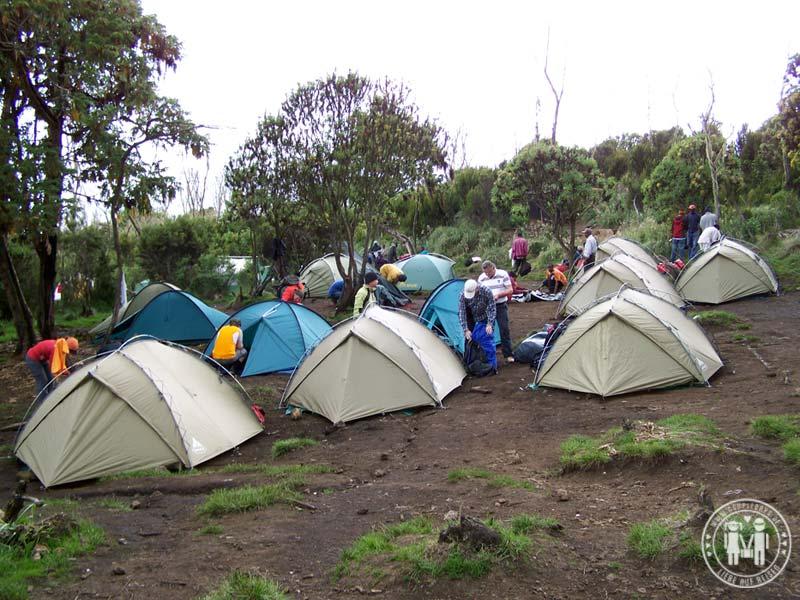 Das erste Lager wurde an der Machame Hut aufgeschlagen.