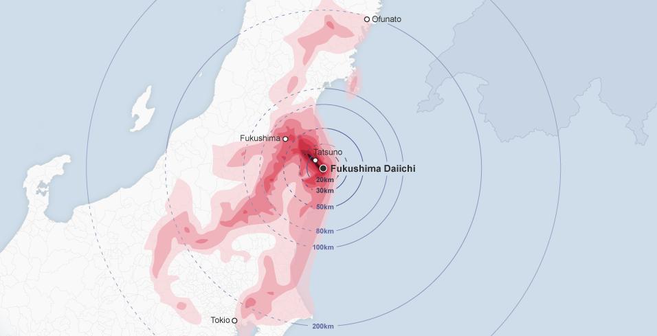 Das Strahlungsverseuchte Gebiet rund um Fukushima.